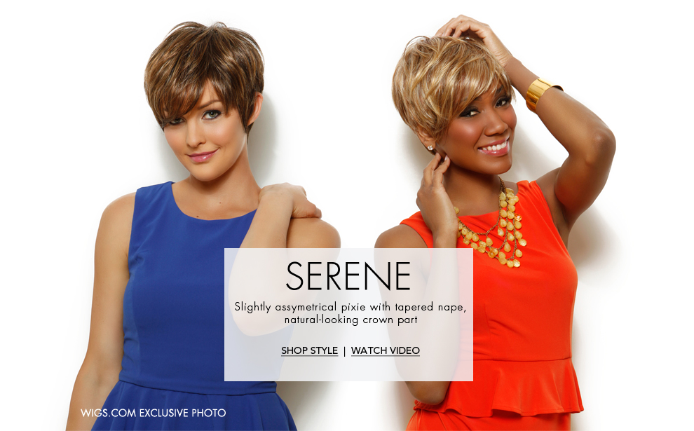 Raquel Welch Serene - Monofilament Crown, asymmetrical short cut - pixie Wig