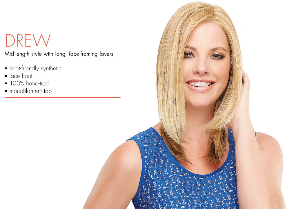 Drew by Jon Renau Wigs. Heat-Friendly synthetic lacefront wig style that is monofilament and hand-tied.