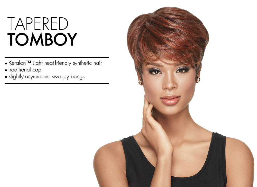 Full-On Curls by Sherri Shepherd Wigs. Short Synthetic wig style with modern cork screw curls.