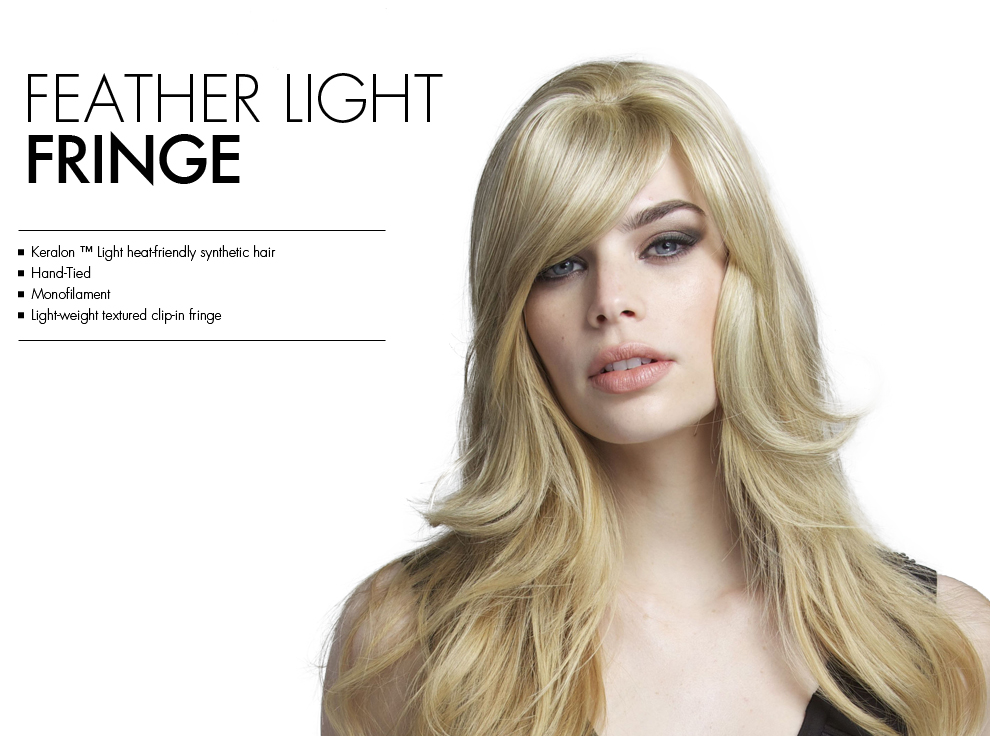 Feather Light Fringe by Tabatha Coffey Wigs. Light-weight clip-in fringe bang, perfect for fine hair.