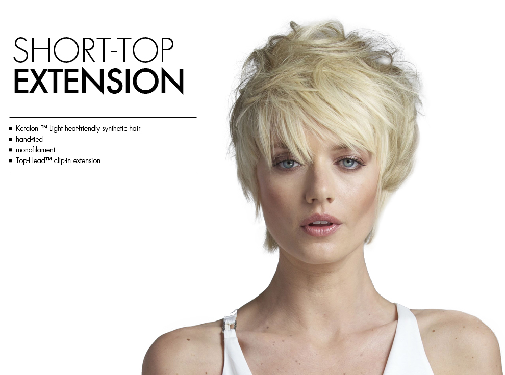 Short Top Extension by Tabatha Coffey Wigs. Top of the head clip in hairpiece extensions for added volume for thinning hair.