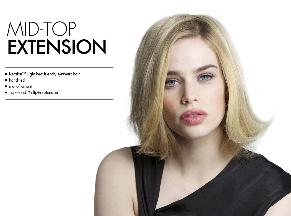 Mid Top Extension by Tabatha Coffey Wigs. Top of the head clip in hairpiece extensions for added volume for midlenght or medium length thinning hair.