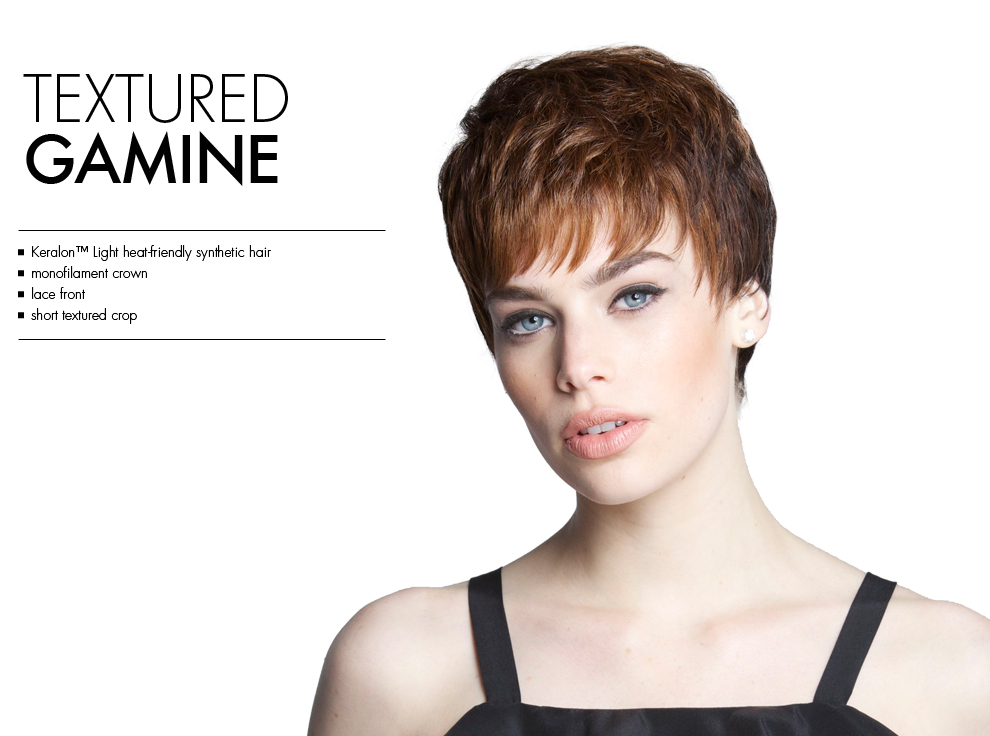 Textured Gamine by Tabatha Coffey Wigs. Short textured lacefrontmono-crown synthetic wig style.