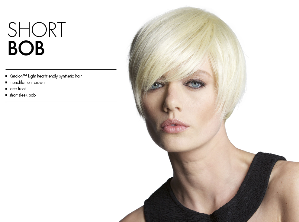 Short Bob by Tabatha Coffey Wigs. Short  lacefront bob wig with mono crown top.