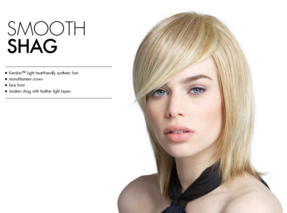 Smooth Shag by Tabatha Coffey Wigs. Heat-friendly synthetic monofilament lacefront wig style with layers.