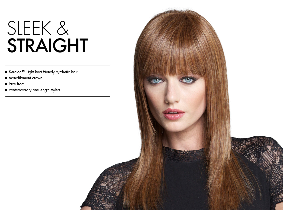 Sleek & Straight by Tabatha Coffey Wigs. Contemporary longer style with edgy blunt bangs.